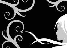 Het profiel van de vrouw over donkere achtergrond Royalty-vrije Stock Afbeeldingen