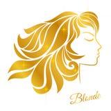 Het profiel van een blondemeisje met gouden haar en glanst geïsoleerd op een witte achtergrond Royalty-vrije Stock Fotografie