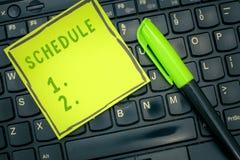 Het Programma van de handschrifttekst Concept die plan voor het uitvoeren van procesprocedure betekenen die de tijden van lijsten stock afbeeldingen
