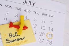 Het Programma van de de zomerkalender Royalty-vrije Stock Fotografie