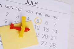 Het Programma van de de zomerkalender Stock Foto's