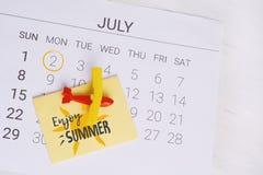 Het Programma van de de zomerkalender Stock Fotografie