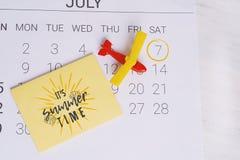 Het Programma van de de zomerkalender Royalty-vrije Stock Foto