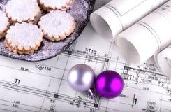 Het project en Kerstmis van architectenblauwdrukken Stock Fotografie