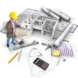 Het project van de bouw, algemene mening stock foto