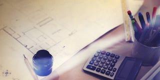Het Project van de bouwblauwdruk het Werk Planningsconcept Royalty-vrije Stock Afbeeldingen