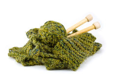 Het Project van Kitting van de sjaal in Groen stock afbeeldingen