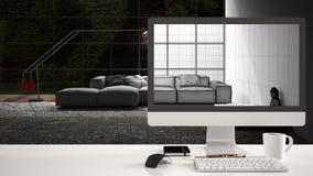 Het projectconcept van het architectenhuis, bureaucomputer op wit het werkbureau die CAD schets, minimalistic woonkamer binnenlan stock afbeeldingen