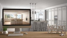 Het projectconcept van de architectenontwerper, houten lijst met huissleutels, 3D de keukenontwerp en Desktop die van brievenwoor Royalty-vrije Stock Afbeelding