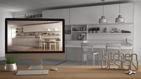 Het projectconcept van de architectenontwerper, houten lijst met huissleutels, 3D de keukenontwerp en Desktop die van brievenwoor Royalty-vrije Stock Foto