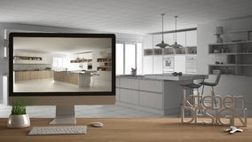 Het projectconcept van de architectenontwerper, houten lijst met huissleutels, 3D de keukenontwerp en Desktop die van brievenwoor Stock Afbeeldingen