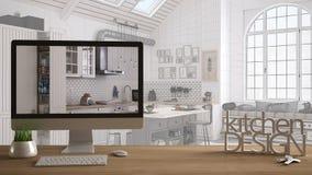 Het projectconcept van de architectenontwerper, houten lijst met huissleutels, 3D de keukenontwerp en Desktop die van brievenwoor stock illustratie
