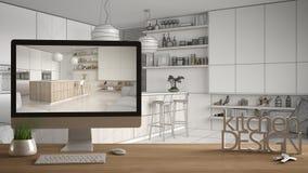 Het projectconcept van de architectenontwerper, houten lijst met huissleutels, 3D de keukenontwerp en Desktop die van brievenwoor royalty-vrije illustratie