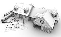 Het projectvoltooiing van de huisarchitectuur stock illustratie