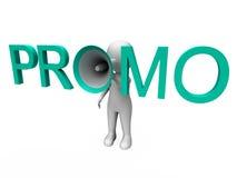 Het Promokarakter toont Verkoopaanbieding en Kortingen stock illustratie