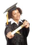 Het pronken van met haar diploma royalty-vrije stock foto