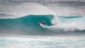 Het prostrand Hawaï van de Surferzonsondergang royalty-vrije stock foto