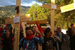 Het Protest 21-2017 December Tegucigalpa Honduras 4 van Honduras Stock Foto's