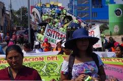 Het protest maart Tegucigalpa Honduras Mei 2019 8 van de arbeidsdag stock fotografie