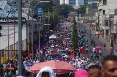 Het protest maart Tegucigalpa Honduras Mei 2019 3 van de arbeidsdag royalty-vrije stock afbeelding