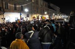 Het protest vóór de tweede ronde van Presidentsverkiezingenburgers protesteert tegen de socialistische kandidaat, Victor Ponta Royalty-vrije Stock Fotografie