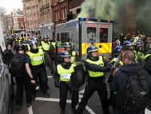 Het Protest van anti-besnoeiingen in Londen Stock Afbeelding