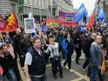 Het Protest van anti-besnoeiingen in Londen Royalty-vrije Stock Foto's