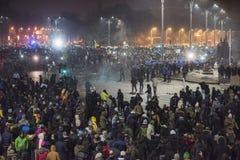 Het protest van Boekarest tegen de overheid Royalty-vrije Stock Afbeeldingen