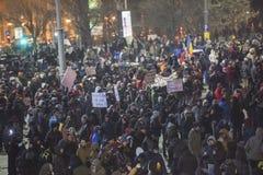 Het protest van Boekarest tegen de overheid Stock Fotografie