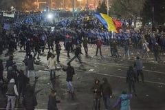 Het protest van Boekarest tegen de overheid Stock Afbeeldingen