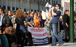 Het protest van de jeugd in Athene Royalty-vrije Stock Afbeeldingen