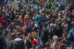 Het Protest van de Legalisatie van de drug, de Cannabis Maart van de Wereld Stock Foto
