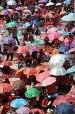 Het Protest van het rood-overhemd in Bangkok Stock Foto