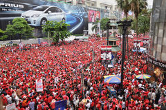 Het Protest van het rood-overhemd in Bangkok Royalty-vrije Stock Foto's