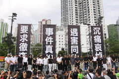 Het Protest van Hongkong over de Sterfgevallen van de Gijzelaar van Manilla Royalty-vrije Stock Afbeelding