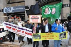 Het Protest van Kashmir buiten Indisch Consulaat royalty-vrije stock foto