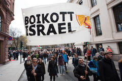 Het protestbanner van Palestina: Boycot Israël Stock Fotografie