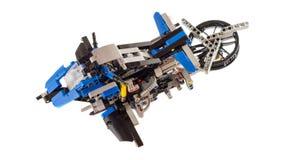 Het prototypemodel van vliegende motor leidde tot het gebruiken van legostukken royalty-vrije stock afbeelding
