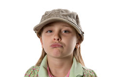 Het pruilen - Meisje in Groene Hoed Royalty-vrije Stock Afbeeldingen