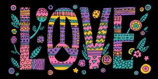 Het psychedelische hippieliefde van letters voorzien vector illustratie