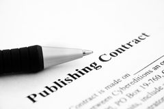 Het publiceren contract Stock Afbeelding