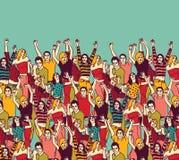 Het publiek en de hemelkleur van groeps gelukkige jongeren Stock Afbeelding