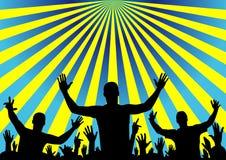 Het publiek van de partij het toejuichen, vectorachtergrond Royalty-vrije Stock Afbeelding