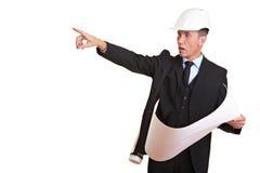 Het punt van de architect in een richting stock fotografie