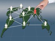 Het punt van de hand aan sociale netwerkaansluting Royalty-vrije Stock Foto