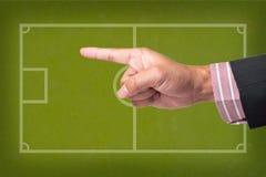 Het Punt van de hand een voetbalspel Stock Fotografie