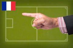 Het Punt van de hand een voetbalspel Stock Afbeeldingen