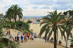 Het punt van de observatie in Park Guell, Barcelona, Spanje Stock Foto's