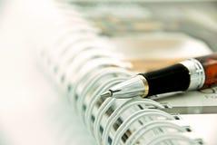 Het punt van de pen op organisator royalty-vrije stock fotografie