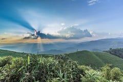 Het punt van de zonsondergangmening in Nern Chang Suek Viewpoint, Pilok, Kanchanab Royalty-vrije Stock Foto